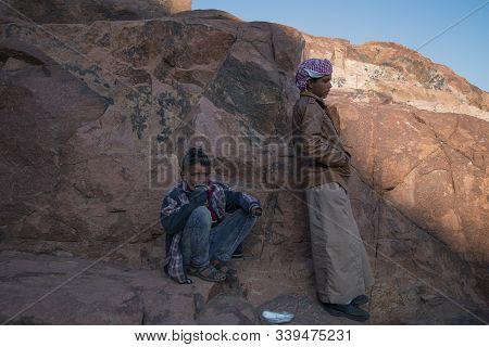 Mount Sinai, Sharm Ash Sheikh, Egypt - 25 October 2017. Young Residents Of The Sinai Peninsula. Bedo
