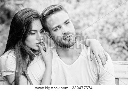 Handsome Man Pretty Girl In Love. Attractive Couple. Sexual Attraction. Relaxing With Darling. Lover