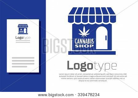 Blue Marijuana And Cannabis Store Icon Isolated On White Background. Equipment And Accessories For S