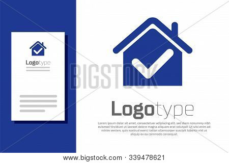 Blue House With Check Mark Icon Isolated On White Background. Real Estate Agency Or Cottage Town Eli