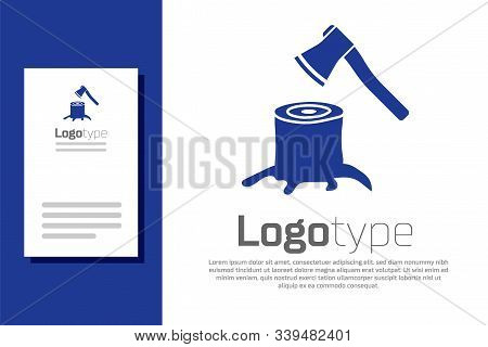 Blue Wooden Axe In Stump Icon Isolated On White Background. Lumberjack Axe. Axe Stuck In Wood. Logo