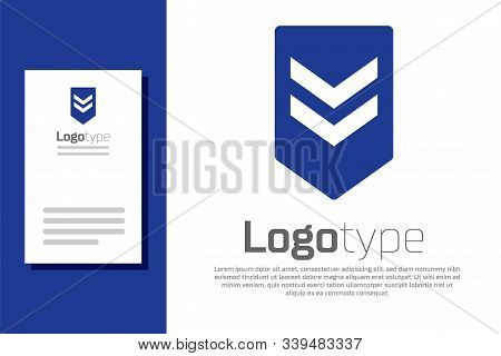 Blue Chevron Icon Isolated On White Background. Military Badge Sign. Logo Design Template Element. V