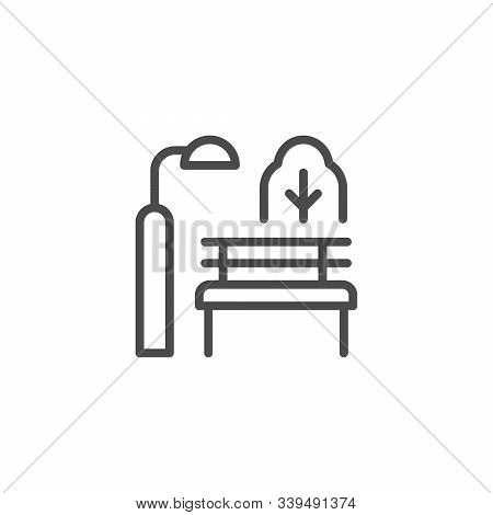Park Bench Line Outline Icon Isolated On White. Recreation Outdoor. Urban Environment. Light Of Lamp