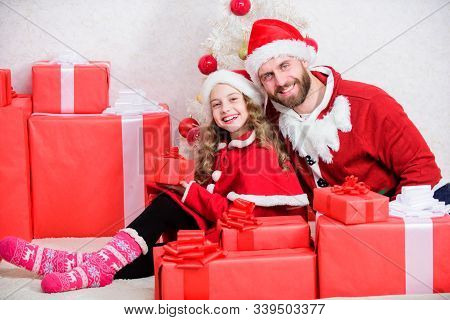 Family Christmas Celebration Traditions. Dad In Santa Costume With Daughter Cute Kid Celebrate Chris