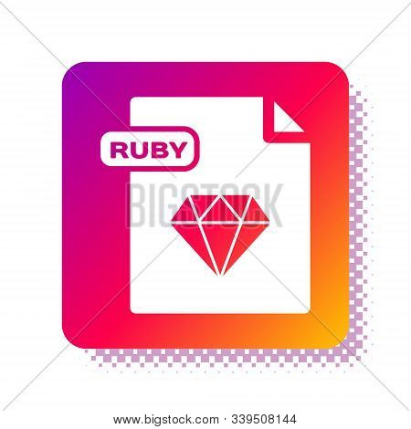 White Ruby File Document. Download Ruby Button Icon Isolated On White Background. Ruby File Symbol.