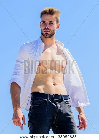 Cool And Sexy. Handsome Man Fashion Model. Muscular Man Sexy Torso. Strong Belly Of Athlete. Fitness