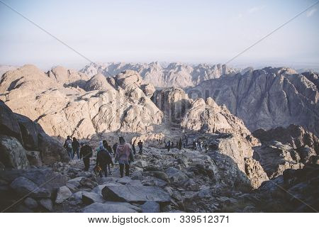 Mount Sinai, Sharm Ash Sheikh, Egypt - 25 October 2017. Pilgrims And Tourists On The Pathway From Th