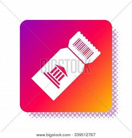 White Museum Ticket Icon Isolated On White Background. History Museum Ticket Coupon Event Admit Exhi