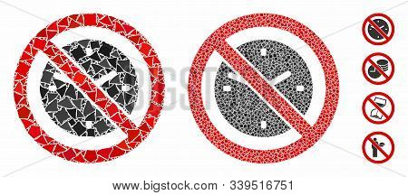 No Clock Mosaic Of Inequal Elements In Various Sizes And Color Hues, Based On No Clock Icon. Vector