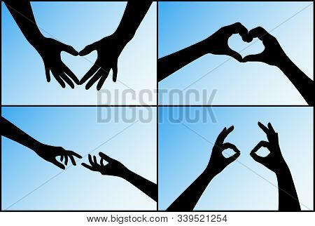 Set Of Hand Silhouettes Showing Romantic Human Relationships On Blue Background. Heart Shaped Hands,