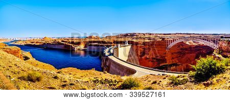 Panorama View Of The Glen Canyon Dam With Lake Powell Behind The Dam, Created By The Colorado River.