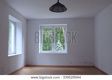 Empty Clear Room With Window Overlooking Forest. Window Overlooking Forest. Room In Country House Wi