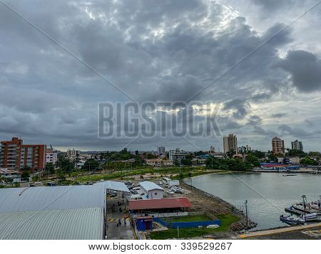 Colon/panama - 11/6/19: A View Of The Colon, Panama Skyline From The Port With Its Marina, Apartment