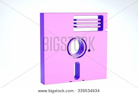 Purple Floppy Disk In The 5.25-inch Icon Isolated On White Background. Floppy Disk For Computer Data