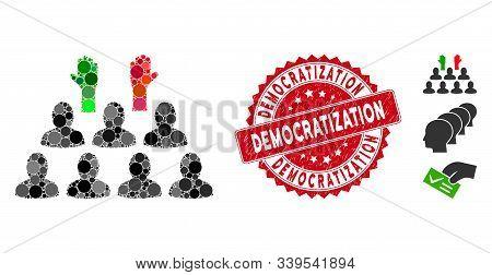 Mosaic Democratization And Circle Rubber Print. Flat Vector Democratization Mosaic Of Randomized Cir