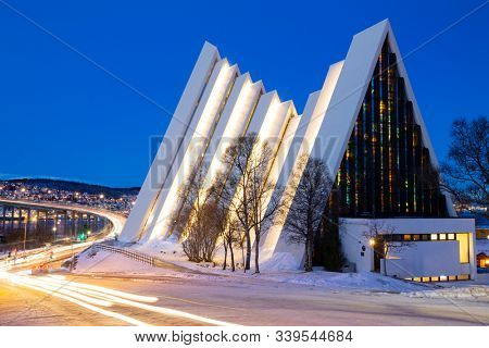 Arctic cathedral in Tromso, Northern, Norway Tromso In Winter Time, Christmas Time in Tromso, Norway