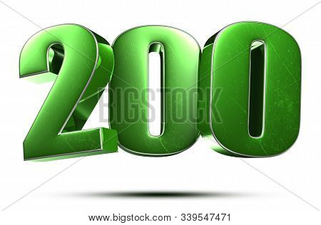 3d Illustration Number 200 Green On A White Background.(with Clipping Path).