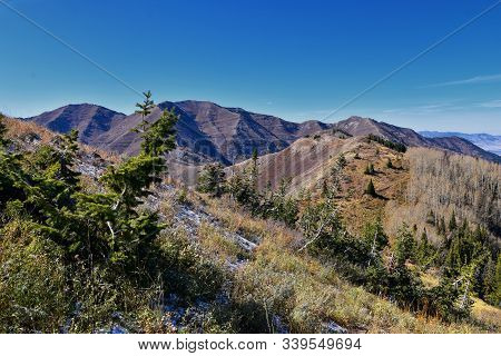 Butterfield Canyon Hiking Path Views Of The Oquirrh Range Along The Wasatch Front Rocky Mountains, B