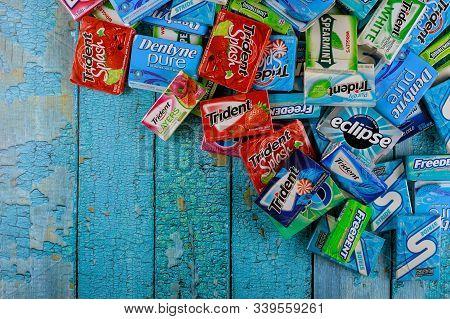 New York Ny Nov 29 2019: Various Brand Chewing Gum Brands Orbit, Extra, Eclipse, Freedent, Wrigley,