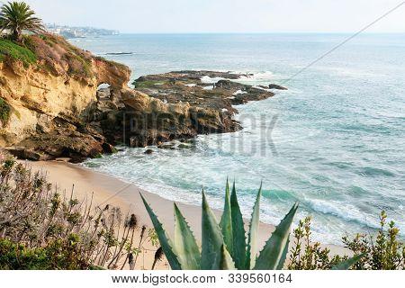 Pacific Ocean View In Laguna Beach In California.