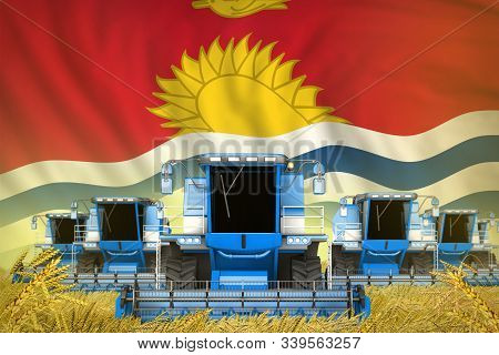 Many Blue Farming Combine Harvesters On Rye Field With Kiribati Flag Background - Front View, Stop S