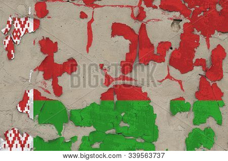 Belarus flag depicted in paint colors on old obsolete messy concrete wall closeup. Textured banner on rough background poster