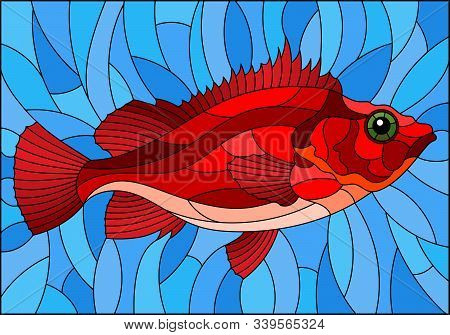 Illustration In Stained Glass Style With Abstract Red Sea Bass On Blue Background