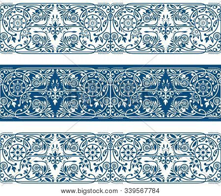 Winter Floral Borders Collection. Three Seamless Classic Blue Vector Band