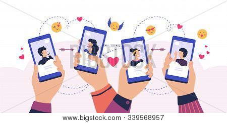 Mobile Dating App. Cartoon Hands Holding Smartphone With Man And Woman Profiles, Service For Finding