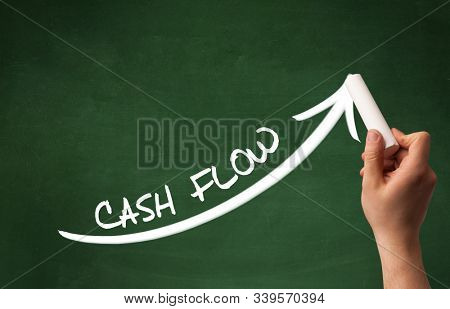 Hand drawing CASH FLOW inscription with white chalk on blackboard, business concept