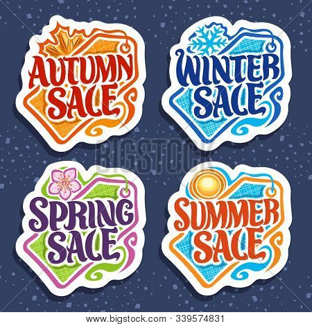 Vector Set For Four Seasons Sale, 4 Isolated Decorative Seasonal Pricetags With Words, Summer With O