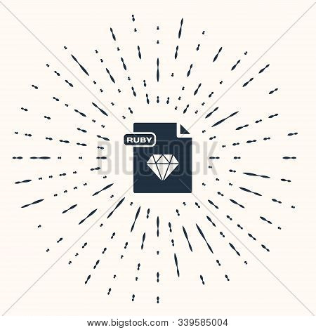 Grey Ruby File Document. Download Ruby Button Icon Isolated On Beige Background. Ruby File Symbol. A