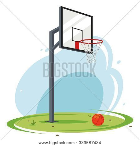 Backyard Basketball Hoop. Amateur Basketball On The Lawn. Flat Vector Illustration Of Sports Equipme