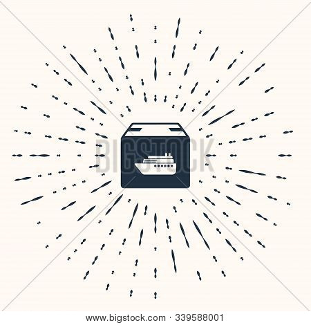 Grey Cargo Ship With Boxes Delivery Service Icon Isolated On Beige Background. Delivery, Transportat