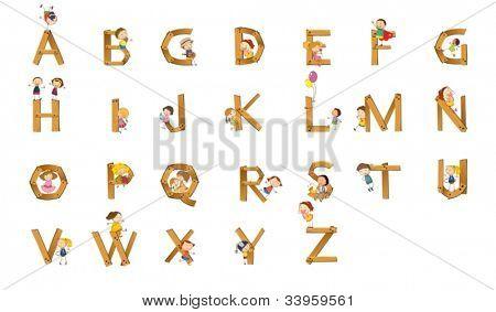 Illustration of kids playing on alphabet