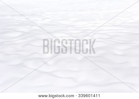 Background Of Snow Texture. Plain Snowy Pure Landscape. Scene Of White Surface In Winter. Bright Fre