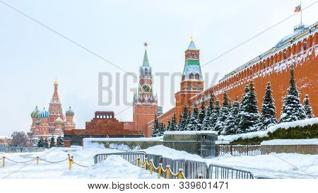 Red Square In Winter, Moscow, Russia. It Is Famous Tourist Attraction Of Moscow. Panoramic View Of S