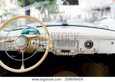 Interior Of A Classic Vintage Car. Old Car