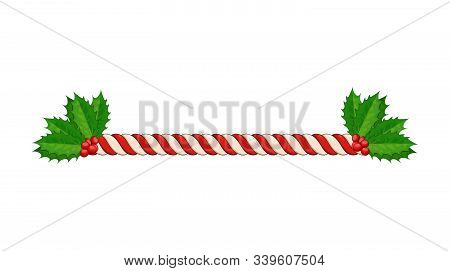 Candy Cane Line Border Divider For Christmas Design. Xmas Twisted Peppermint Cane With Holly Berry V