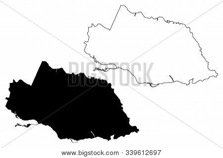 Surrey County (counties Of Jamaica) Map Vector Illustration, Scribble Sketch Surrey Map