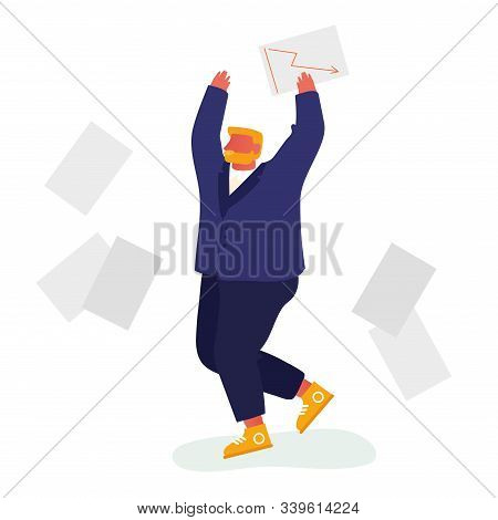 Happy Businessman Throw Out Pile Of Office Papers And Documents Quit Paperwork And Daily Routine. Ma