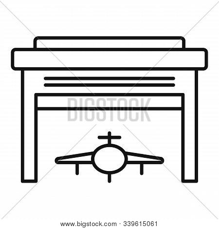 Hangar Shed Icon. Outline Hangar Shed Vector Icon For Web Design Isolated On White Background