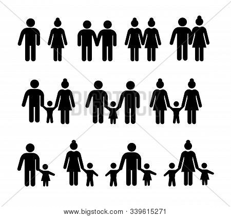 Stick People In Different Poses Isolated On White Background. Set Of Different Types Of Families. Hu