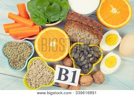 Ingredients Containing Vitamins B1 (thiamine). Healthy Eating Concept.