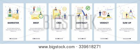 Mobile App Onboarding Screens. Pretrial Agreement, Court, Legal Case, Verdict, Barrister, Lawyer. Me