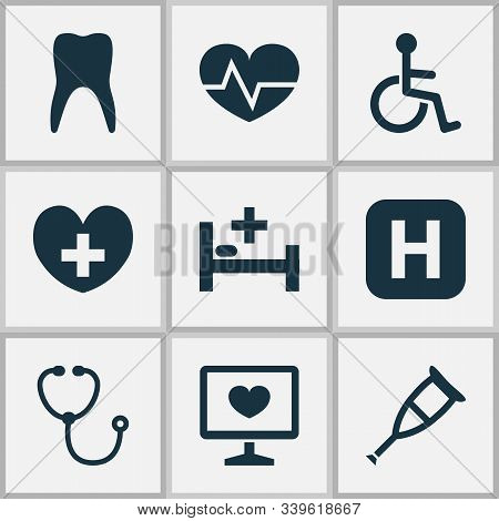 Antibiotic Icons Set With Stethoscope, Crutch, Infirmary And Other Beating Elements. Isolated Vector