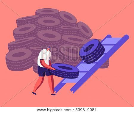 Process Of Recycling And Reusing Old Tires. Male Character Take Put Car Wheel From Huge Heap And Put