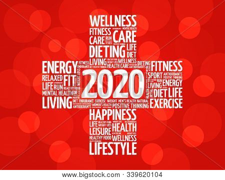 2020 Health And Sport Goals Word Cloud, Concept Background