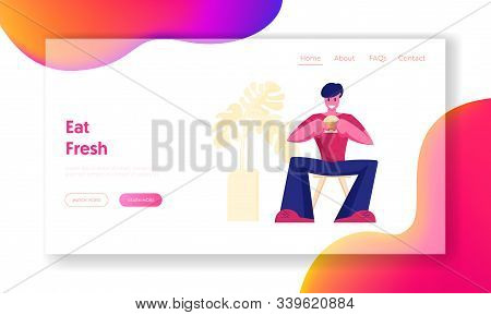 Relaxing Business Lunch Time Website Landing Page. Hungry Male Character Eating Hamburger Sitting In