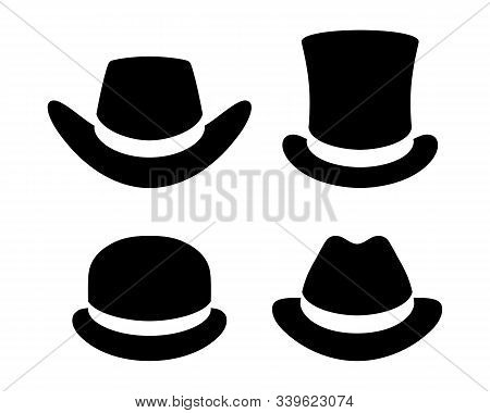 Hats Graphic Icons Set. Cowboy Hat, Top Hat, Bowler Hat, Hat  Black Signs Isolated On White Backgrou